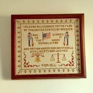 Vintage Framed & Embroidered Pledge of Allegiance